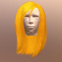 polygonal female hair 3d model