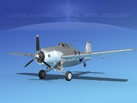 grumman f4f-3 fighter aircraft 3d model