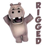 rigged hippo character cartoon 3d obj