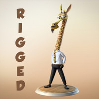 giraffe cartoon character rigged 3d ma