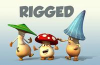 3 mushroom cartoon characters 3d ma