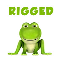 simple rigged cartoon frog 3d model
