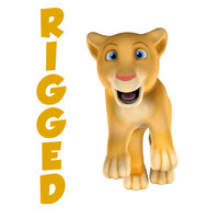 3d simple rig lion cartoon model