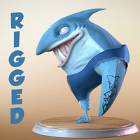 Maya Cartoon Character Shark