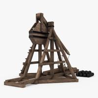 3d model medieval trebuchet artillery