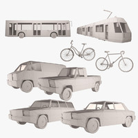 simple transportation set simply 3d model