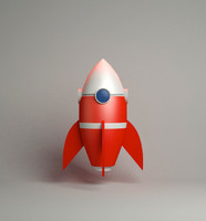 cartoon rocket 3d max