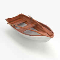 3d model of wooden rowing boat