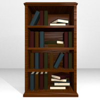 3d wooden bookshelf books