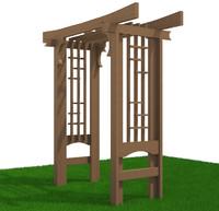pergola wood framed 3d model