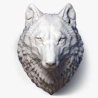 Wolf Head High Poly Sculpture