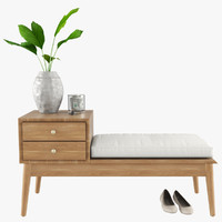 entryway storage bench 3d model