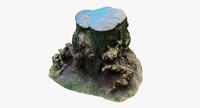 3d model wood stump