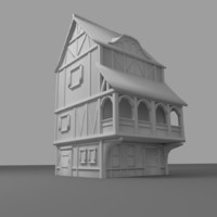 3d town house medieval model