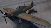 3d model hawker hurricane mk-1 fighter aircraft