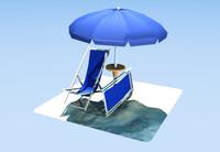 Beach umbrella and Deckchairs