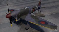 3d hawker tempest mk-5 fighter aircraft model