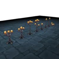 3d candelabra lighting set