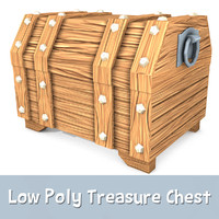 Cartoon Treasure Chest (Low Poly)
