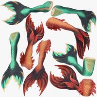 3d model of mermaid tails