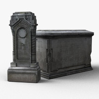3d old tombstones model