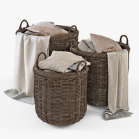 wicker basket cloth brown 3d model
