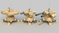 3d set automatic turrets model