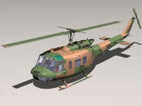 bell uh-1h uh-1 helicopter 3d 3ds