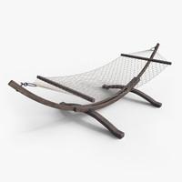 wooden hammock 3d obj