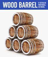 wood barrels c4d