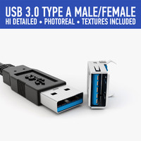 3d model of usb type