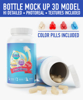 plastic bottle pills 3d fbx