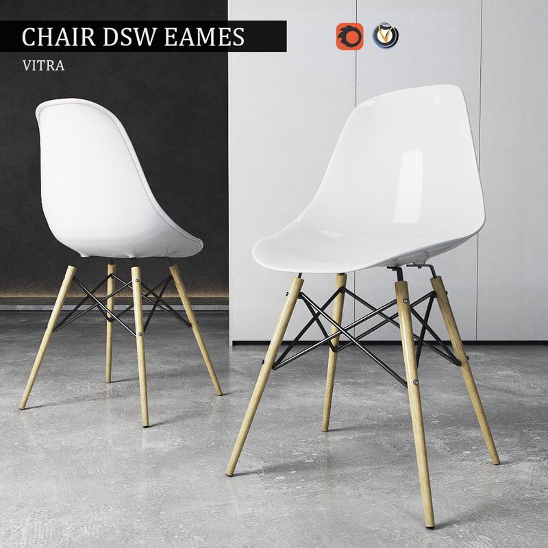 Chair vitra dsw eames plastic 3d model for Eames kuipstoel