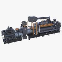 gasoline industrial engine 3d model
