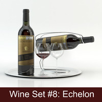Alcohol set #8: Echelon red wine bottle, glass, tray, wine holder \ stand (high quality models ready for interior project).