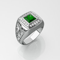 men ring square gemstone 3ds