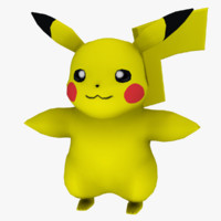 3d model pikachu games happy