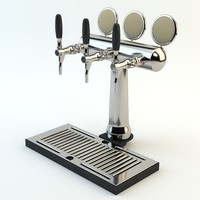 High Poly Beer tower with beer tap ready for bar, cafe, restaurant scene