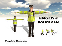 3d english policeman character man