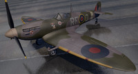 3d supermarine spitfire mk-5b fighter aircraft model