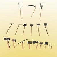 3d 3ds axe pitchfork scythe