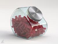glass jar licorice 3d max
