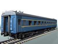 4-axle passenger railcar lvz 3d model