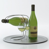 Alcohol set #12: Alsace Kuentz-Bas Pinot Blanc wine wine bottle, glass, tray, wine holder \ stand (high quality models ready for interior rendering)