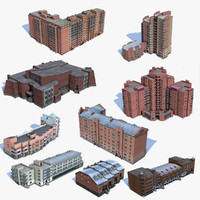9 Low Poly Houses Set 03