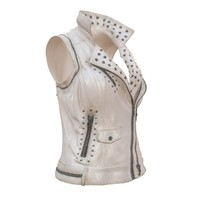 obj sleeveless white leather jacket