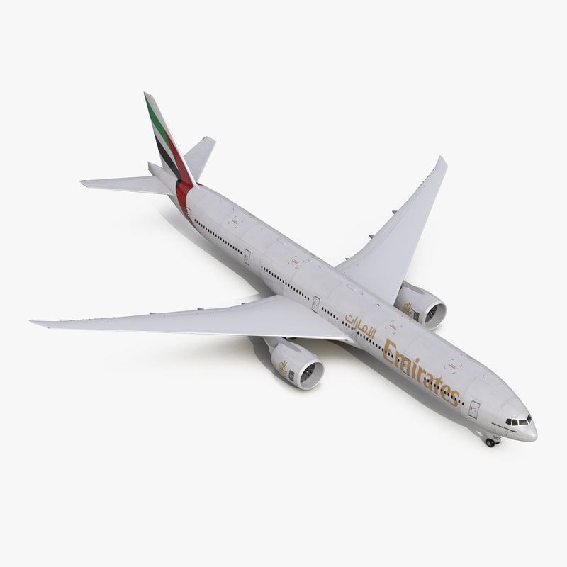 Boeing 777-300 Emirates Airlines vray 3d model 00.jpg