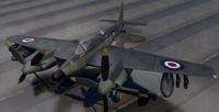3d 3ds dehavilland seahornet fighter aircraft