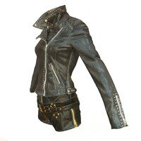3d model shiny leather clothing
