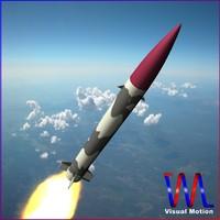 abdali ballistic missile hatf-ii 3d model